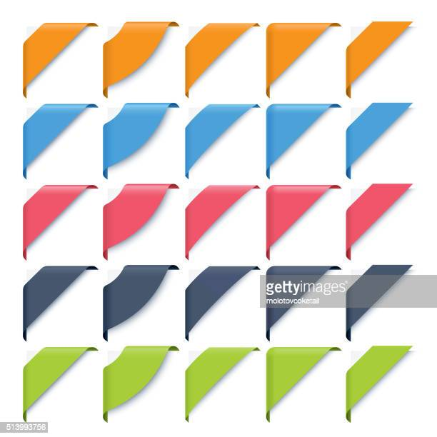 corner ribbons set - collection stock illustrations, clip art, cartoons, & icons