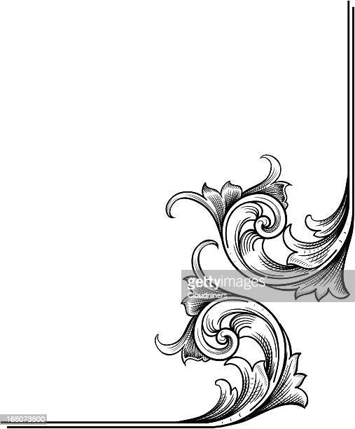 corner scrollwork - art nouveau stock illustrations, clip art, cartoons, & icons