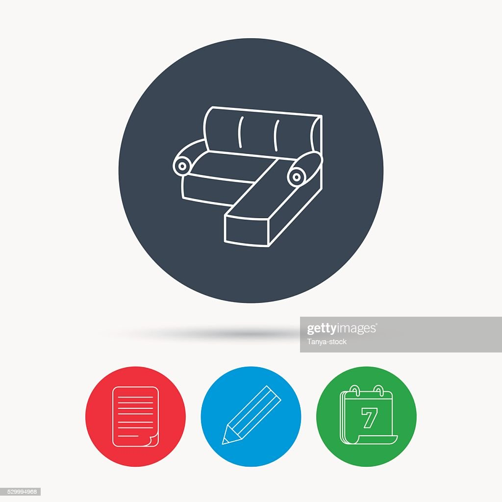 Corner Sofa Icon Comfortable Couch Sign Vector Art Getty Images