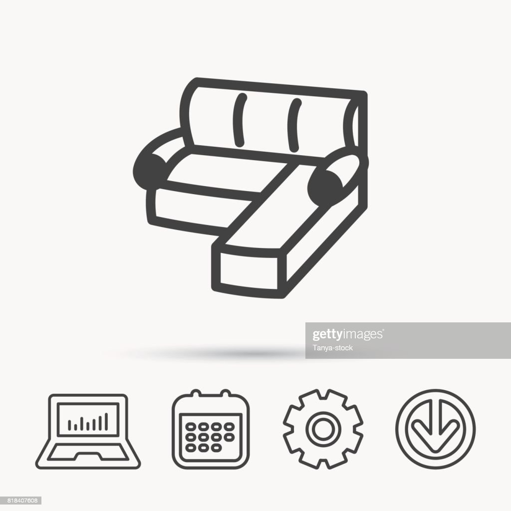 Corner Sofa Icon Comfortable Couch Sign Stock Vector Getty Images