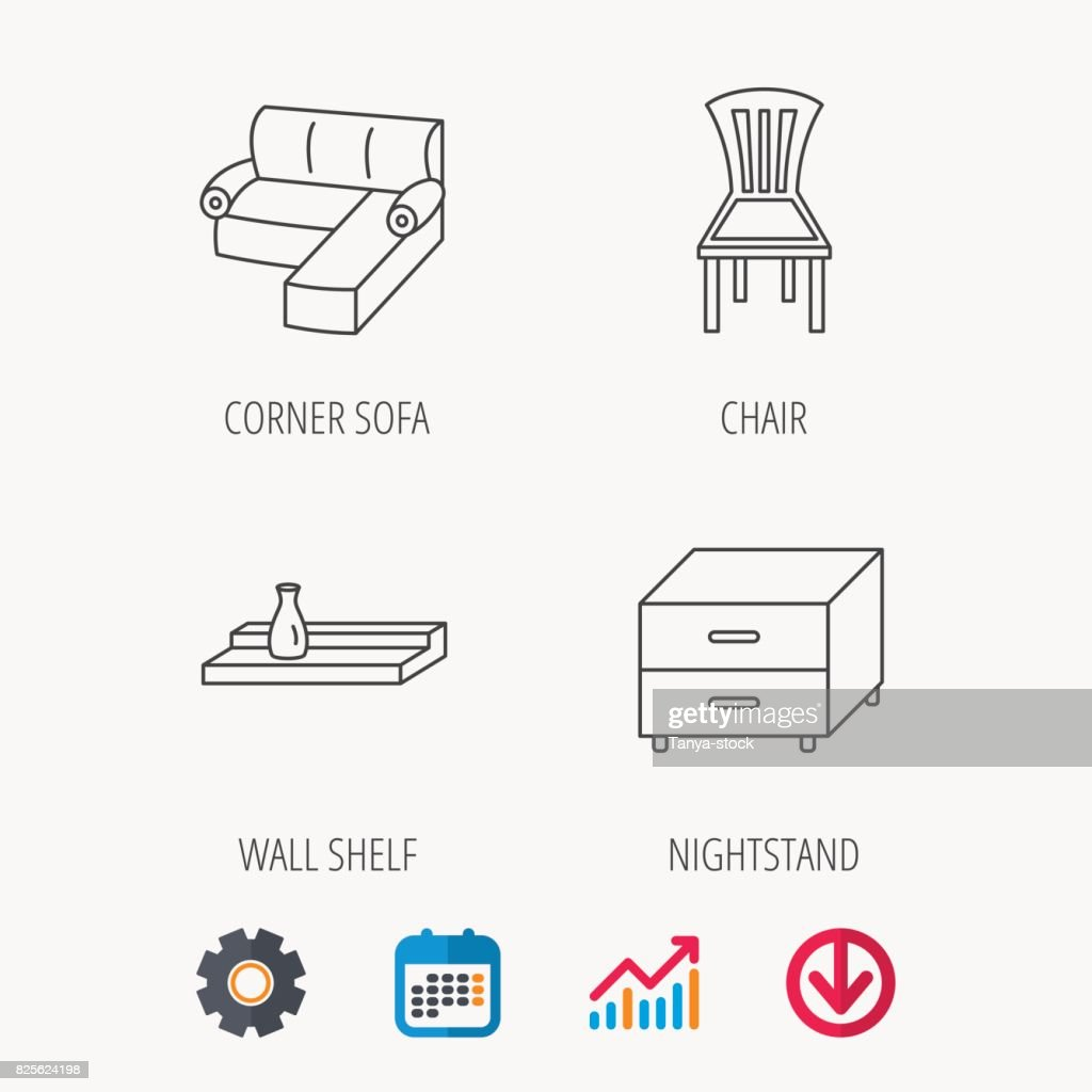Corner Sofa Nightstand And Chair Icons Stock Vector Getty Images