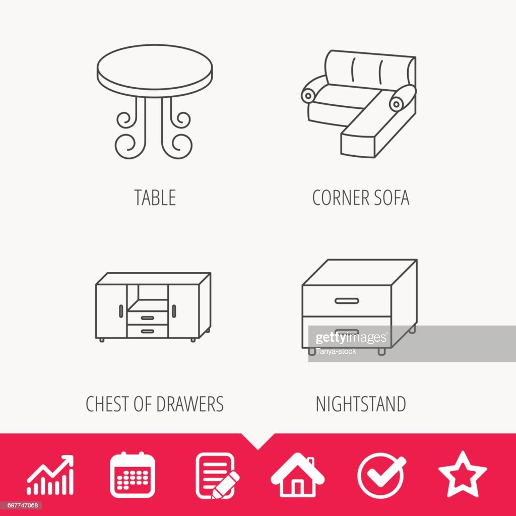 Corner Sofa Table And Nightstand Icons Vector Art Getty Images