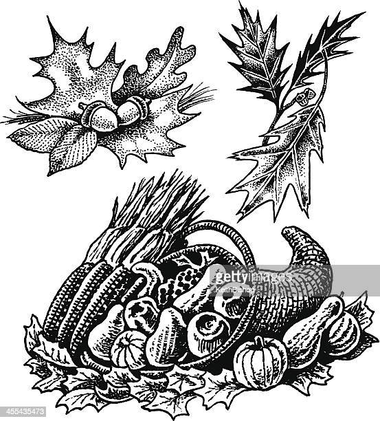 Cornucopia and Fall leaves