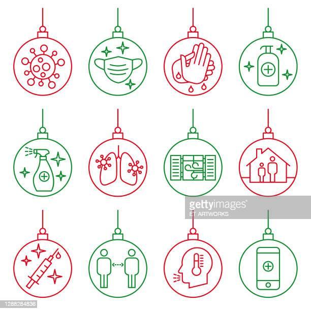 corona christmas concept - illness prevention stock illustrations