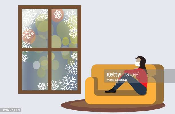 corona virus self-quarantine. isolation period at home.happy new year 2021 - enclosure stock illustrations