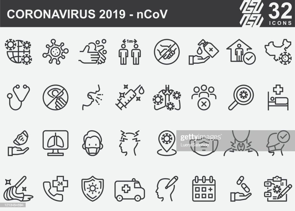 Coronavirus 2019-nCoV Disease Prevention Line Icons : Stock Illustration