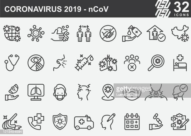 coronavirus 2019-ncov disease prevention line icons - protective face mask stock illustrations