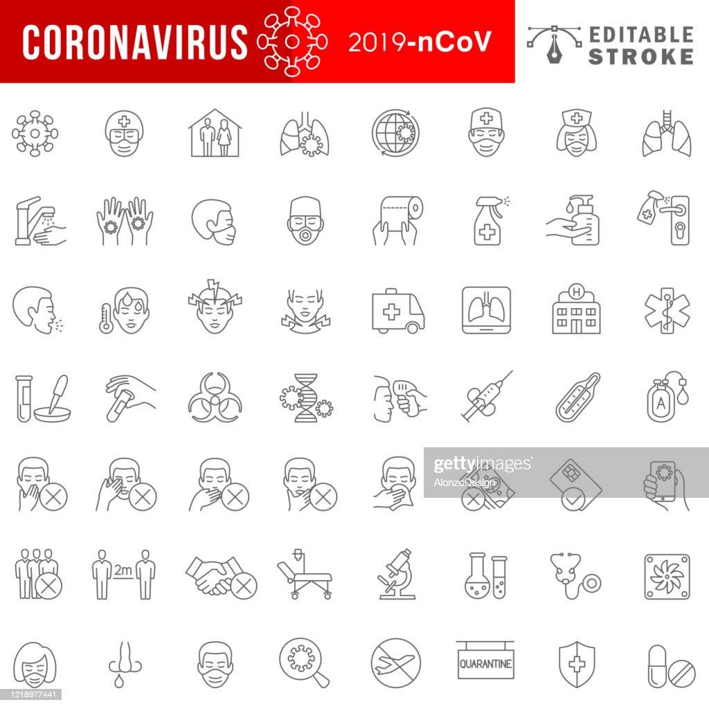 Coronavirus 2019-nCoV disease symptoms and prevention icon set. : Stock Illustration