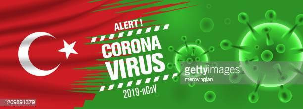 coronavirus 2019-ncov virus - banner mit flaggen - türkei stock-grafiken, -clipart, -cartoons und -symbole