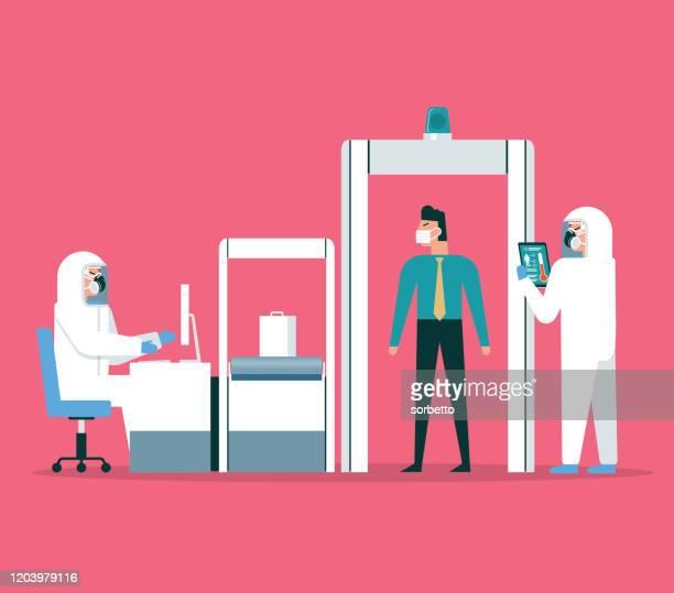 illustrazioni stock, clip art, cartoni animati e icone di tendenza di coronavirus - sicurezza aeroportuale - sensore