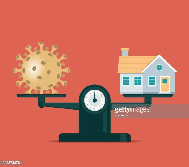 coronavirus and balance - mortgage loan stock illustrations