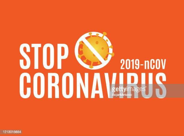coronavirus card with stop sign and virus cell on orange background. vector - biohazardous substance stock illustrations