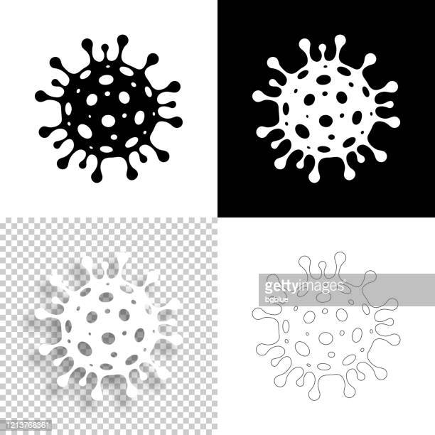 coronavirus cell icons (covid-19) for design - blank, white and black backgrounds - virus organism stock illustrations