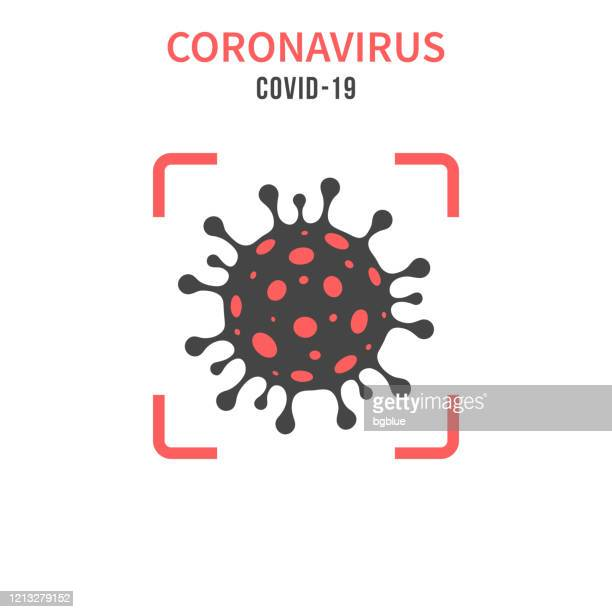 illustrations, cliparts, dessins animés et icônes de cellule de coronavirus (covid-19) dans un viseur rouge sur fond blanc - confinement clip art