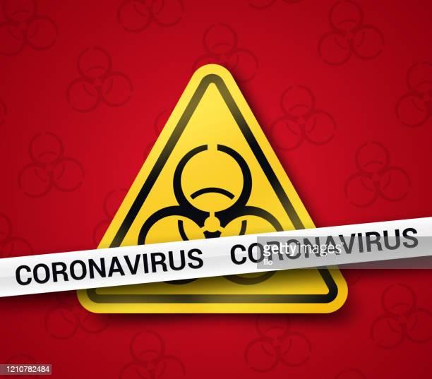 コロナウイルス covid-19 バイオハザード警告シンボル - 非常線点のイラスト素材/クリップアート素材/マンガ素材/アイコン素材