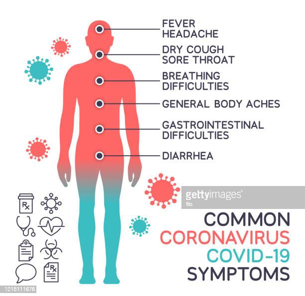 coronavirus covid-19 common body symptoms - the human body stock illustrations