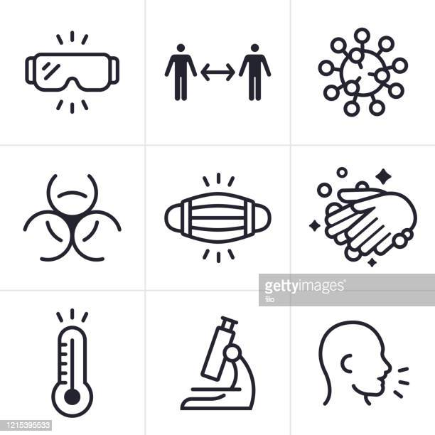 illustrations, cliparts, dessins animés et icônes de coronavirus covid-19 infectious disease icons and symbols - distanciation sociale