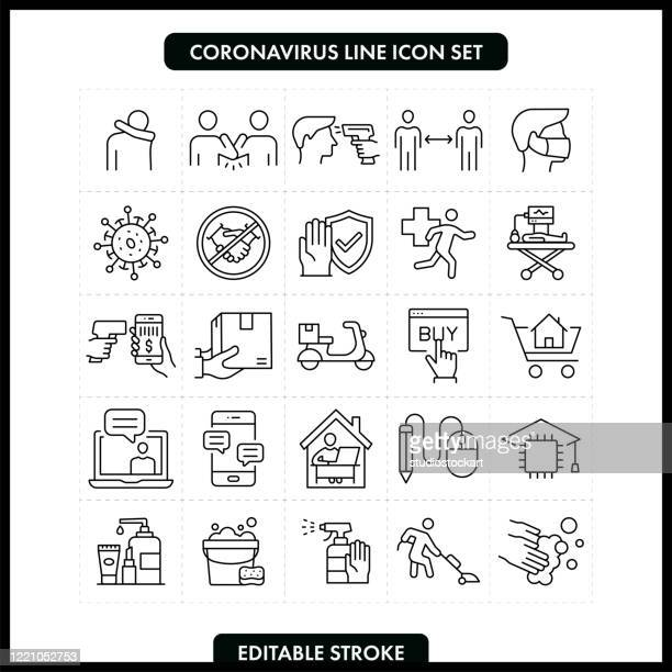 coronavirus covid-19 line icon set. editable stroke - safety stock illustrations