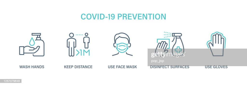Coronavirus COVID-19 Prevention - Icon Set. Virus vector illustration : Ilustração de stock