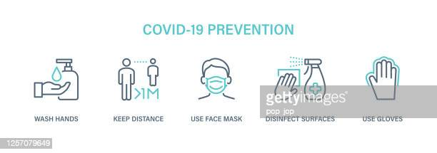 coronavirus covid-19 prevention - icon set. virus vector illustration - protective face mask stock illustrations