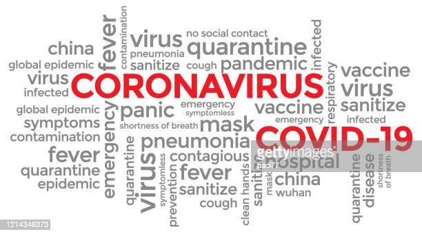coronavirus covid-19 typography design - single word stock illustrations