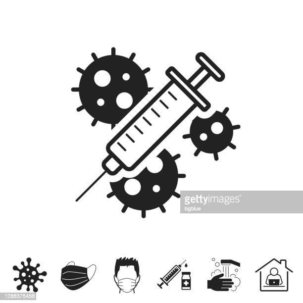 coronavirus covid-19 vaccine. icon for design on white background - covid 19 vaccine stock illustrations