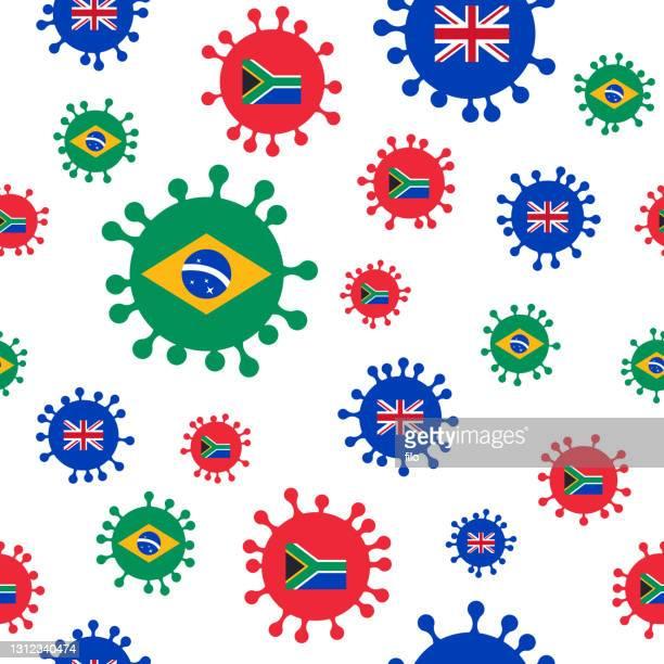 coronavirus covid-19 variants seamless - b117 covid 19 variant stock illustrations