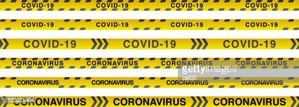 coronavirus decease. warning stripes - biohazardous substance stock illustrations