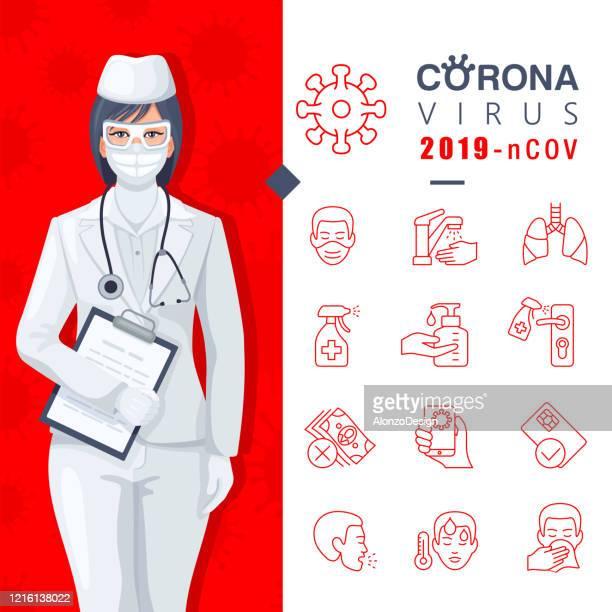 ilustrações, clipart, desenhos animados e ícones de o infográfico detalhado do coronavirus sobre a prevenção do vírus. - instruções