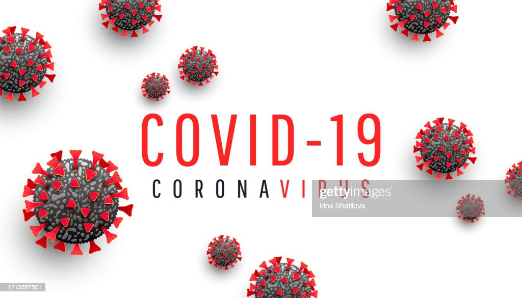 Coronavirus disease COVID-19 medical web banner with SARS-CoV-2 virus molecule and text on a white background. World pandemic 2020. Horizontal vector illustration : stock illustration