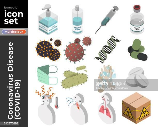 コロナウイルス病(covid-19)等角アイコンセット。ベクトルストックの図。 - バイオハザードマーク点のイラスト素材/クリップアート素材/マンガ素材/アイコン素材
