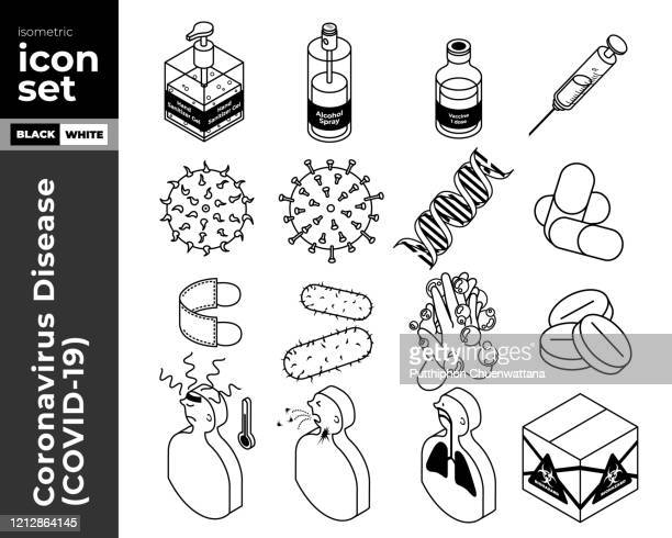 coronavirus disease (covid-19) isometric outline icon set. vector stock illustration. - hand sanitizer stock illustrations