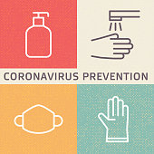 Coronavirus (2019-nCoV) disease prevention illustration. Outline icons showing disinfection, hygiene, mask and glove protection from new 2019 and 2020 flu in Wuhan, China.