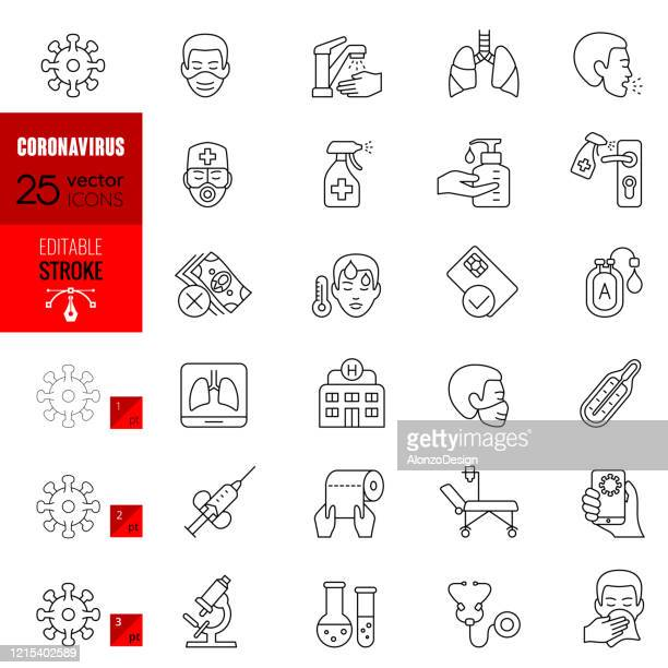 coronavirus editable stroke line icons - severe acute respiratory syndrome stock illustrations