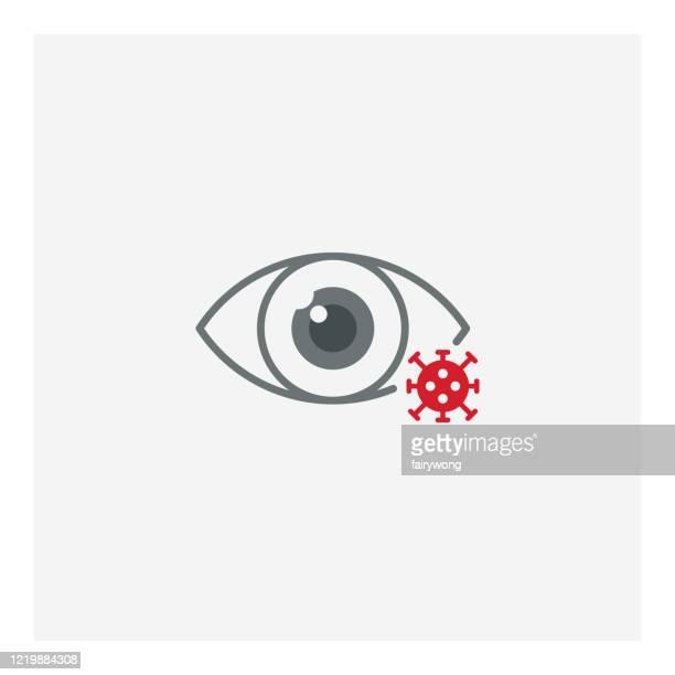 corona-virus eye infection icon - disease vector stock illustrations
