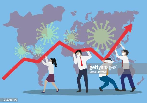 illustrazioni stock, clip art, cartoni animati e icone di tendenza di coronavirus. financial crysis recession concetto economico. team aziendale alla ricerca di opportunità di investimento. - economia