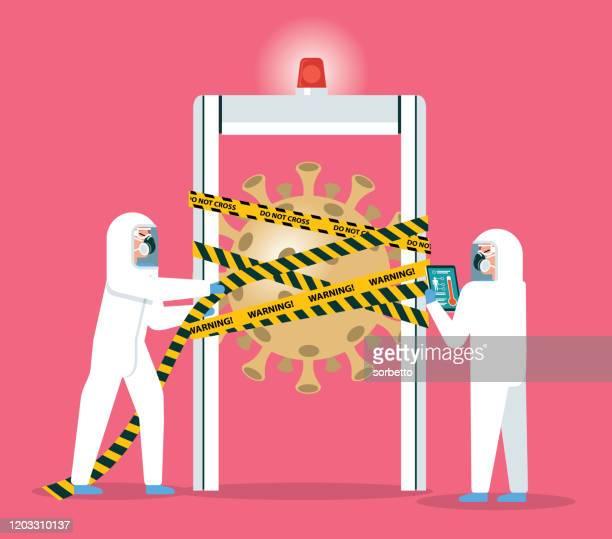 ilustraciones, imágenes clip art, dibujos animados e iconos de stock de aeropuerto de cuarentena de gripe coronavirus - arma biológica