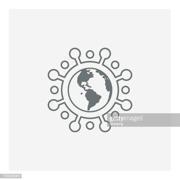 コロナウイルスグローバルパンデミックアイコン、コロナウイルスの流行とパンデミック概念。 - パンデミック点のイラスト素材/クリップアート素材/マンガ素材/アイコン素材