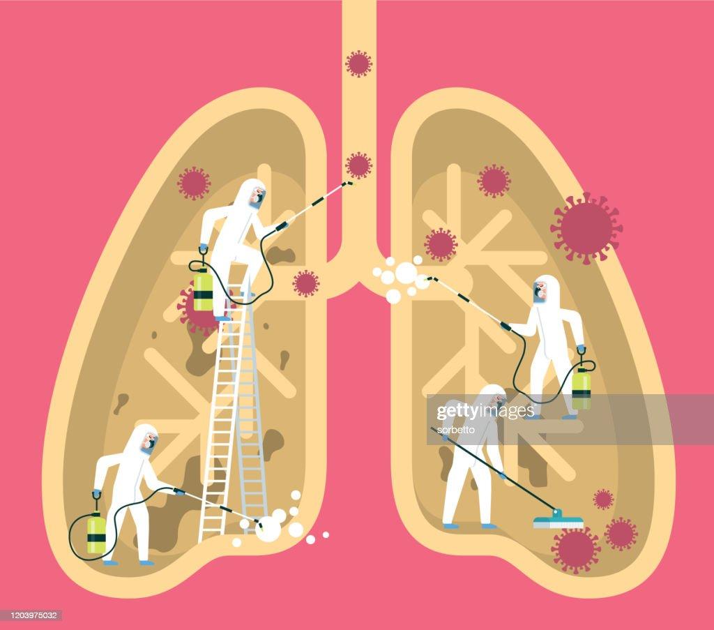 コロナウイルス - ヒト肺 : ストックイラストレーション