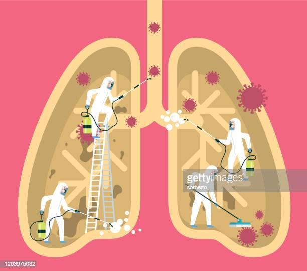 coronavirus - menschliche lunge - atemschutzmaske stock-grafiken, -clipart, -cartoons und -symbole