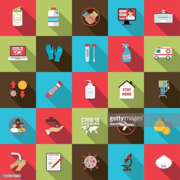 coronavirus icons - quarantine clip art stock illustrations