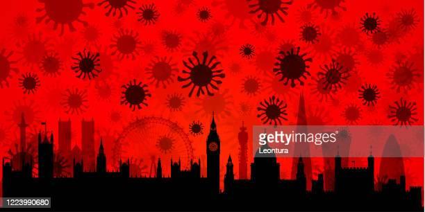 ロンドンのコロナウイルス(すべての建物は完全で可動性) - セントラル・ロンドン点のイラスト素材/クリップアート素材/マンガ素材/アイコン素材