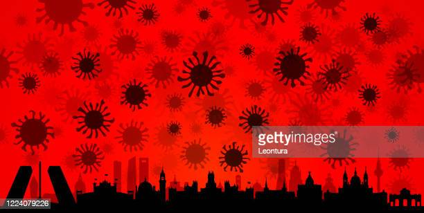 coronavirus in madrid (all buildings are complete and moveable) - royal cathedral stock illustrations