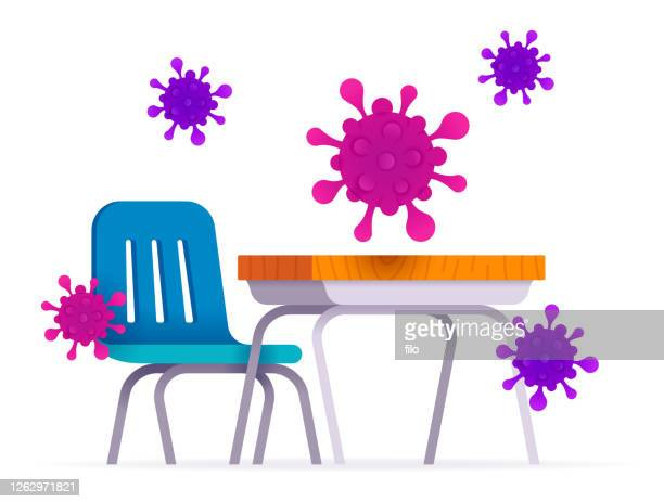 ilustraciones, imágenes clip art, dibujos animados e iconos de stock de coronavirus en el concepto de propagación de virus y enfermedades en el aula - edificio de escuela primaria