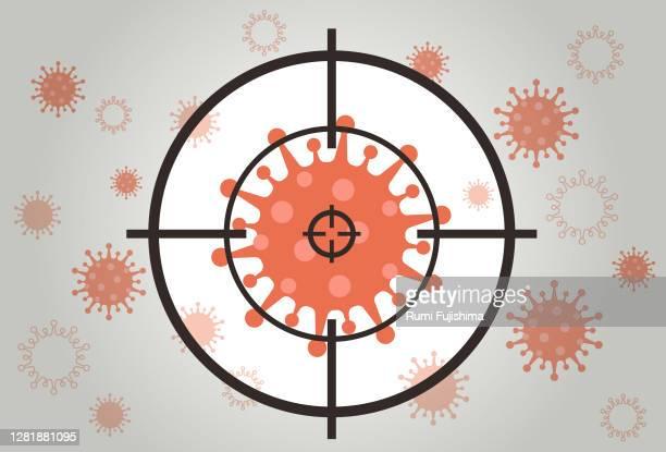 ilustrações de stock, clip art, desenhos animados e ícones de coronavirus in the crosshairs - objetivo militar