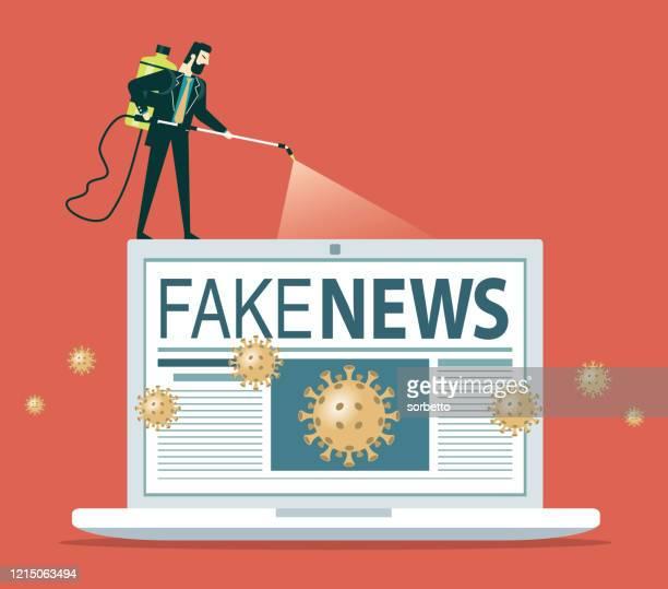 stop fake news coronavirus - laptop - fake news stock illustrations
