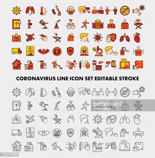 coronavirus line icon set editable stroke - state of emergency stock illustrations