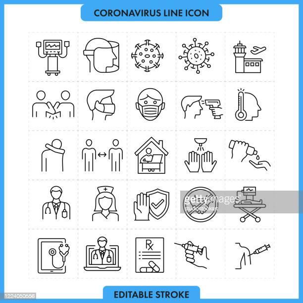 coronavirus line icon set, editable stroke - prevention stock illustrations