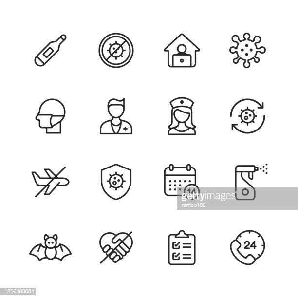 コロナウイルスラインアイコン。編集可能なストローク。ピクセルパーフェクト。モバイルとウェブ用。温度計、ウイルスの流行、リモートワーク、ウイルス、フェイスマスク、医師、看護� - 抗ウイルス薬点のイラスト素材/クリップアート素材/マンガ素材/アイコン素材
