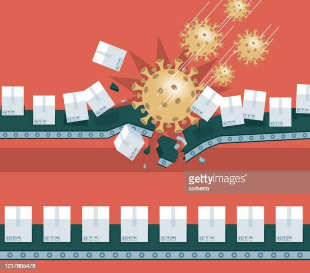 coronavirus outbreak impacting the stock market - freight transportation stock illustrations